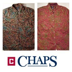 Chaps Classics women's paisley tops-two. Size 2X.
